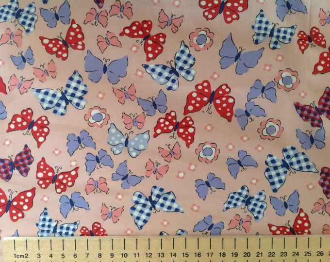 High quality cotton poplin, butterflies on salmon pink