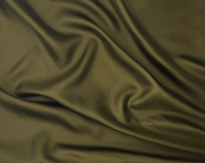 Pure silk satin fabric with twill weave, Moss green