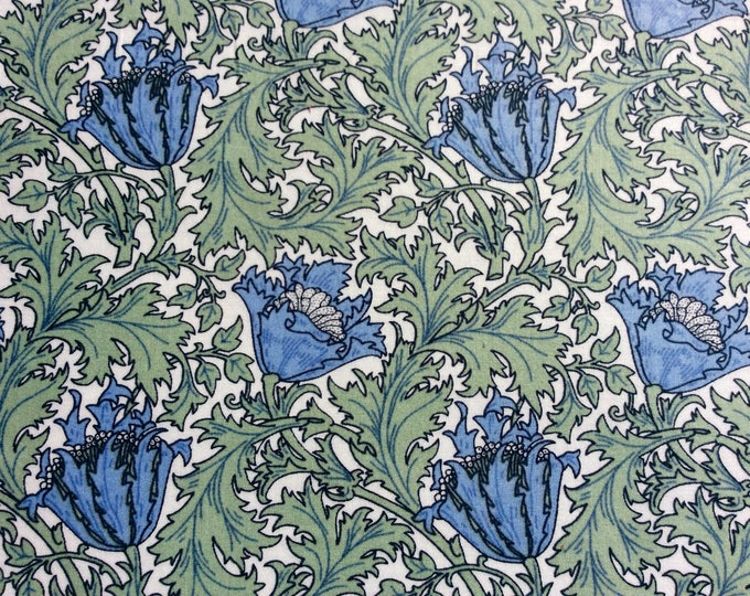 English Pima lawn cotton fabric, priced per 25cm, blue jugend style floral