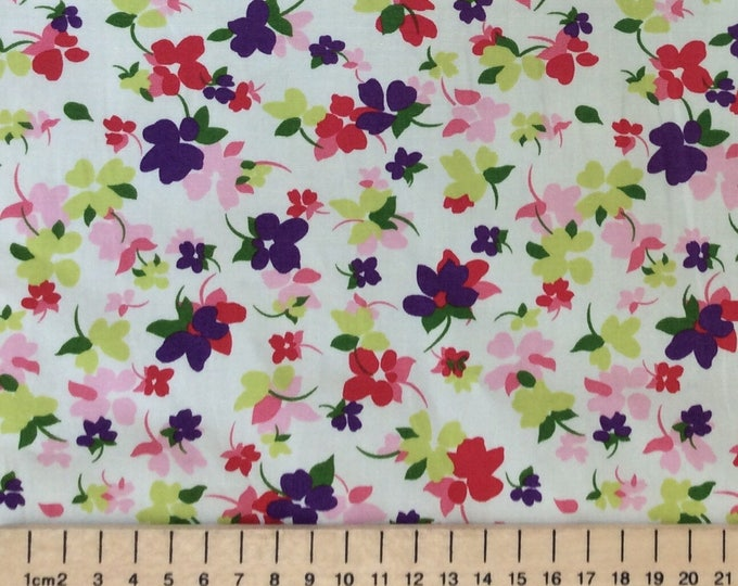High quality cotton poplin printed in Japan, floral print on off white