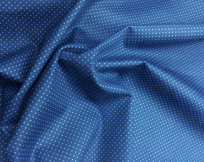 High quality cotton poplin. Blue polka dots on navy nr14