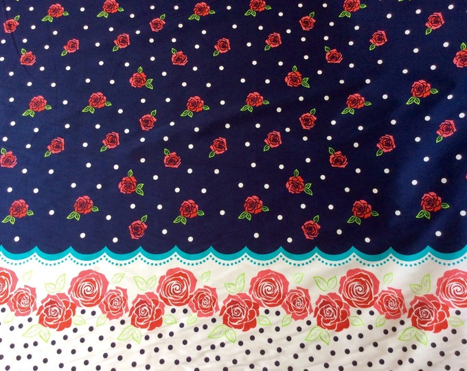 High quality cotton poplin with a printed border