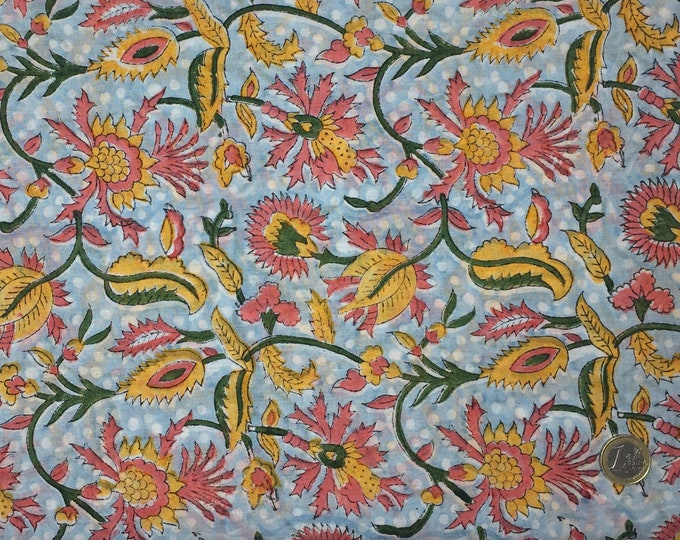 Indian block printed cotton voile, hand made. Light blue Jaipur
