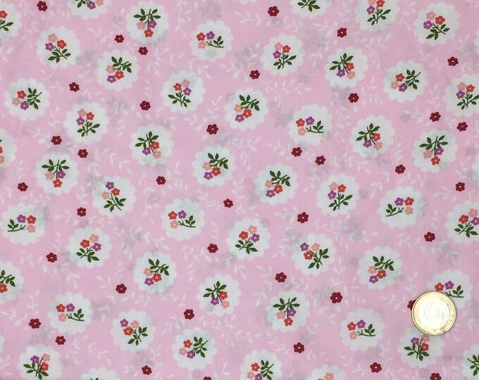 High quality cotton poplin printed in Japan, pink vintage floral print