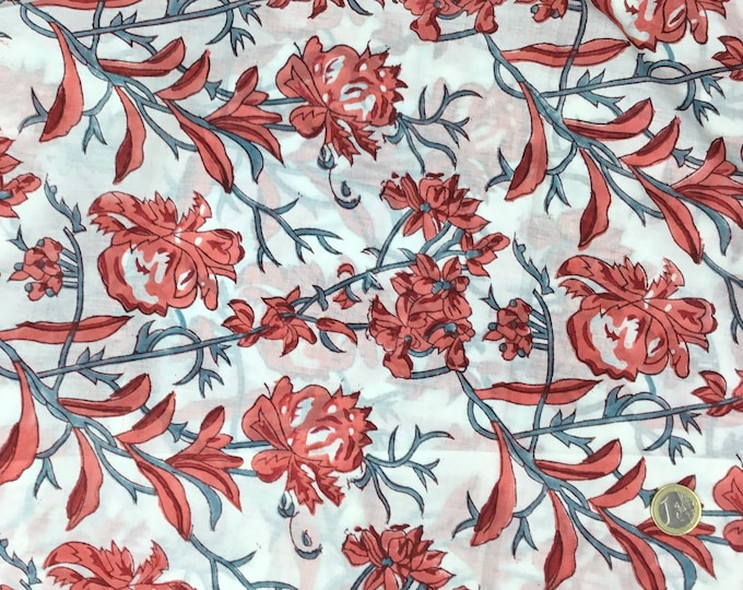 Indian block printed cotton voile, hand made. Coral Jaipur