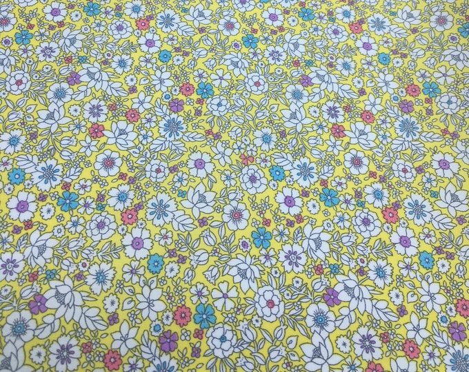High quality cotton poplin with floral on yellow, Heidi