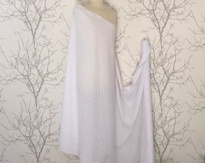 High quality cotton fabric with embroidery anglaise, scalloped edge