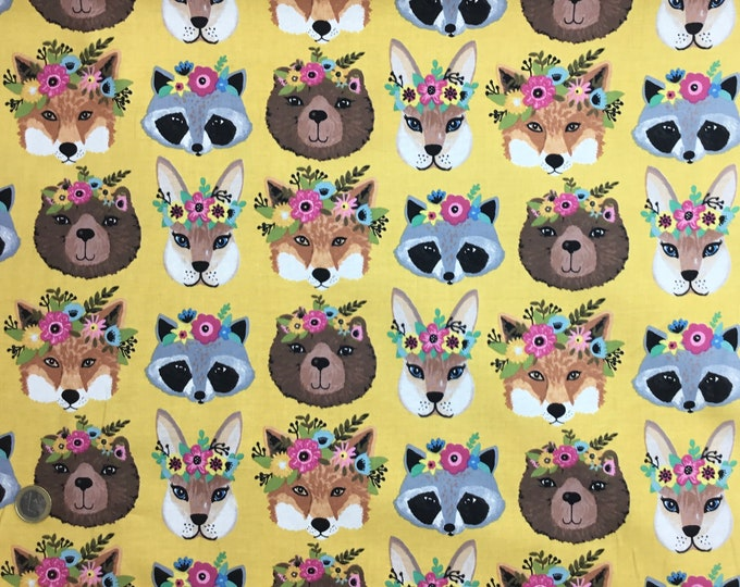 Brothers and Sisters moda cotton poplin with baby animal print.