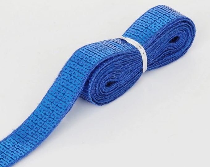 Royal blue Square sequin or sequined ribbon, 25mm or 1 » wide, sold per meter