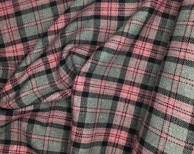 Genuine Shetland wool fabric, grey and pink woven checks