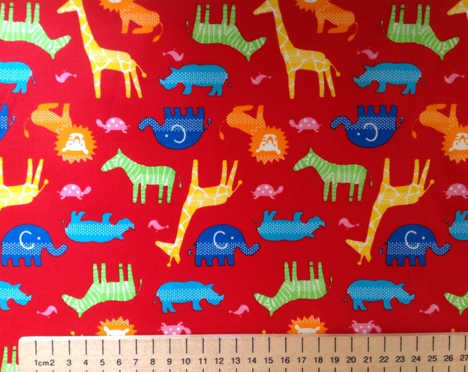High quality cotton poplin, animals on red