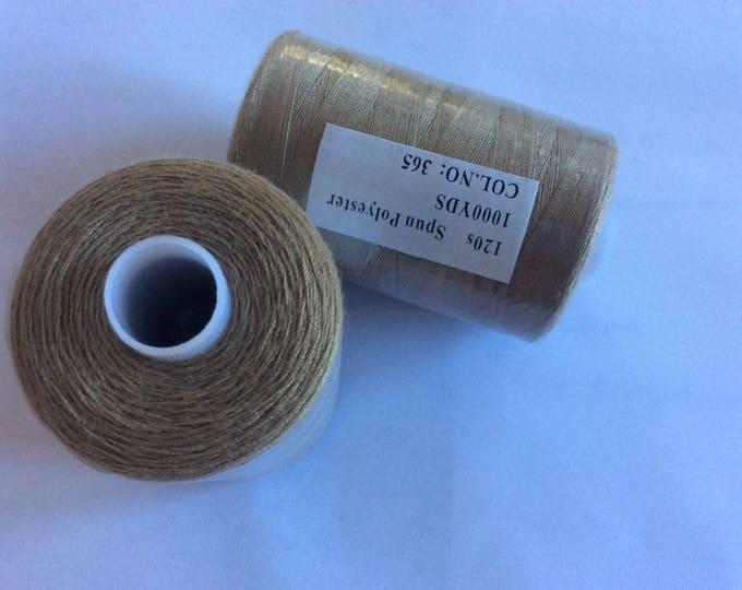 Sewing thread, 1000yds or 915m, dark beige