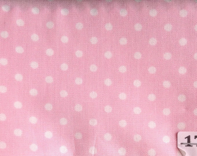 High quality cotton poplin printed in Japan, 3mm pink polka dots no39