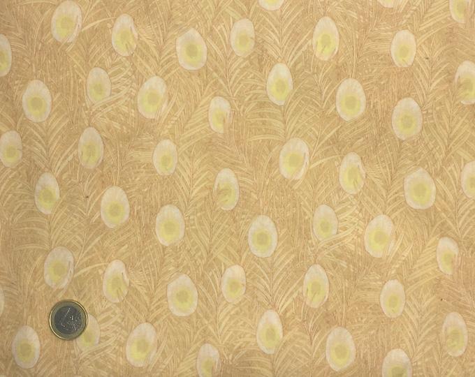 English Pima lawn cotton fabric, priced per 25cm. Gold feathers
