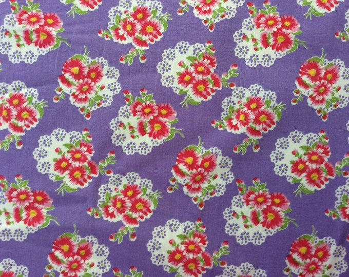 High quality cotton print, vintage floral print on violet
