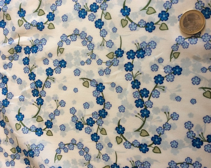 Cotton lawn fabric, white/blue floral print