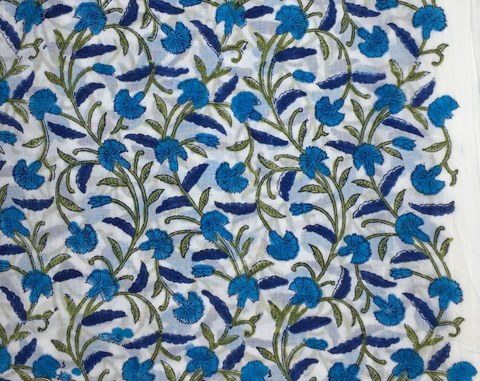 Indian block printed cotton voile, hand made. Riviera blue Jaipur