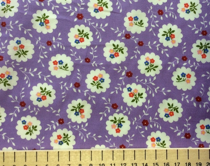 High quality cotton poplin, vintage violet floral print