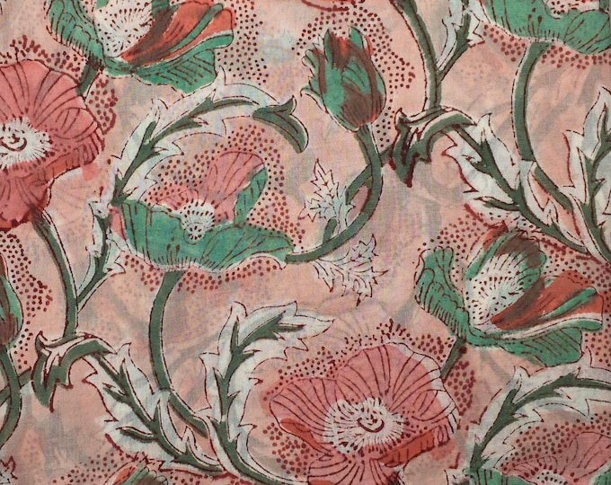Indian block printed cotton voile, hand made. Peach Jaipur