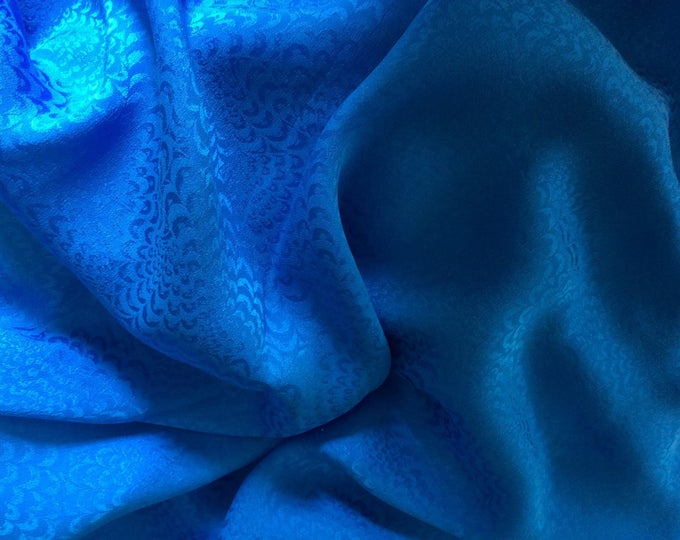 Pure silk satin fabric, royal blue wave weave