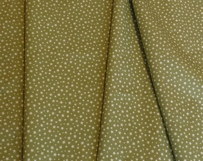 High quality cotton poplin, khaki star print