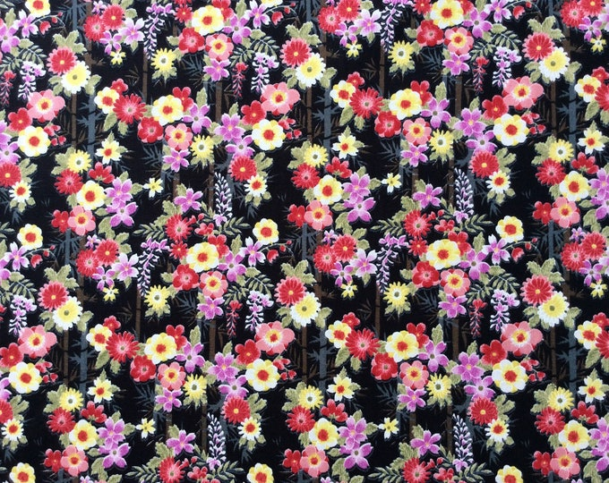 High quality cotton poplin, Japanese print on black