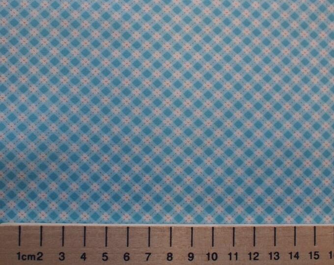 High quality cotton poplin, vintage turquoise checks