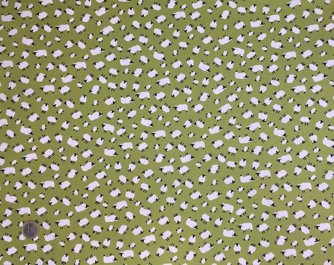 oekotex certified cotton poplin, sheep on moss green