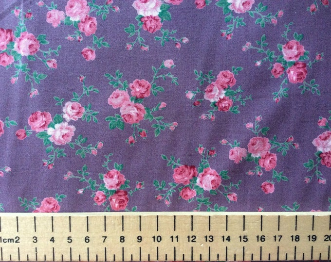 Huh quality cotton poplin, vintage English roses on violet