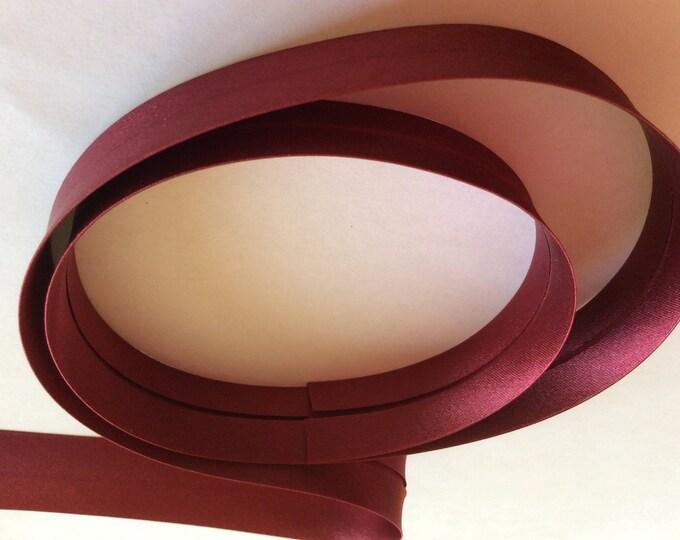 25mm silky sateen bias binding, bordeau no30