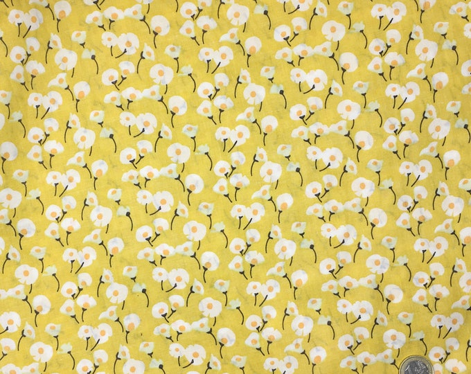 English Pima lawn cotton fabric, lilies on yellow