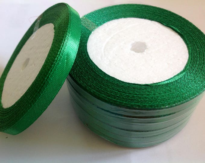 Roll of 22.5m of satin ribbon single face, pine green no76