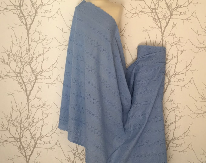 Blue embroidery anglaise, eyelet or broderie anglais cotton fabric, scalloped edges
