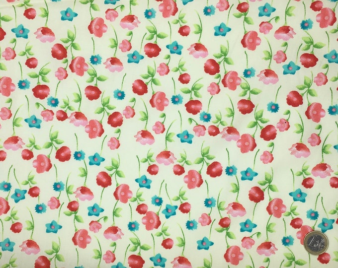 High quality cotton poplin, floral print on ivory