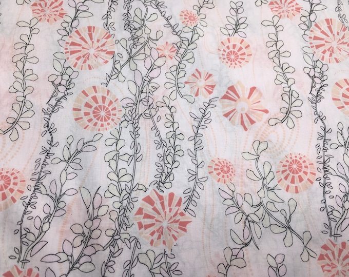 London lawn cotton fabric, priced per 25cm, Pink Sea weed