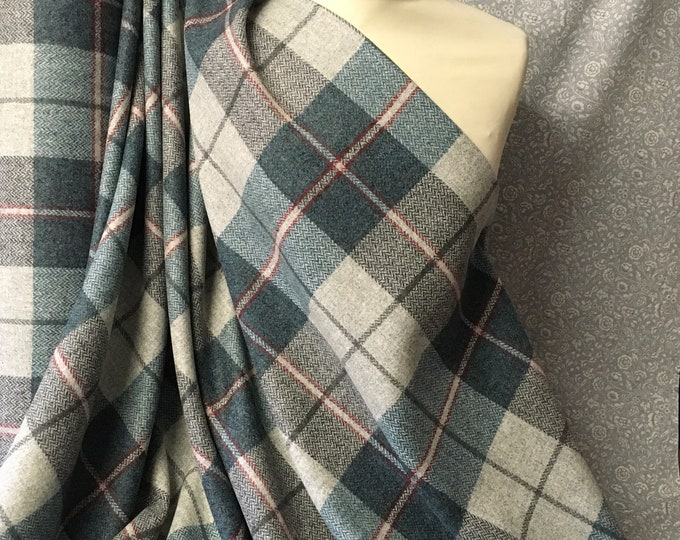 Genuine Shetland pure wool fabric, Aqua Checks