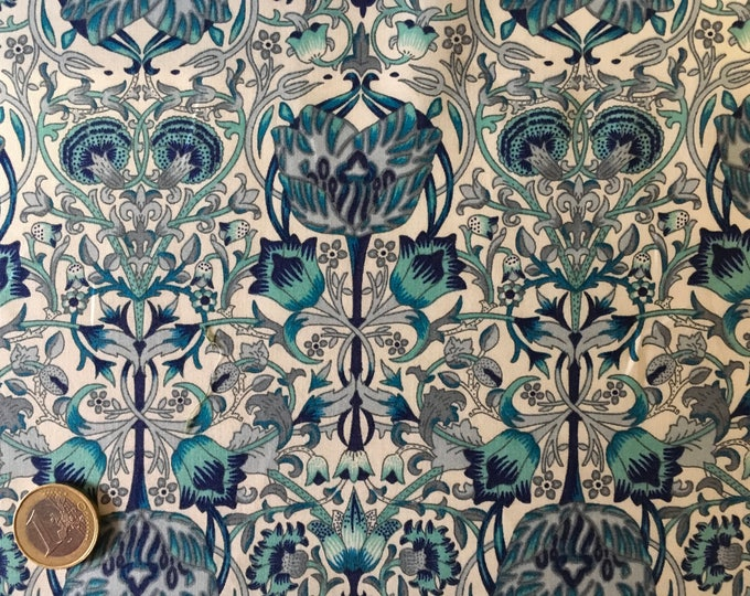 English Pima lawn cotton fabric, priced per 25cm, jugend style. Ocean