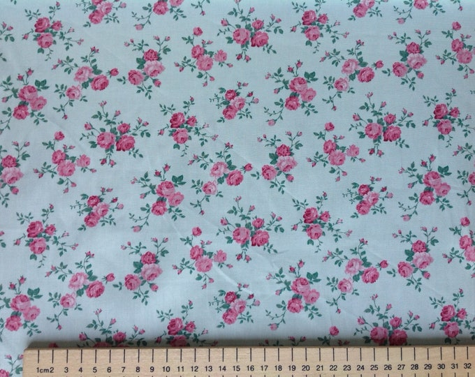 High quality cotton poplin, vintage floral print on light grey