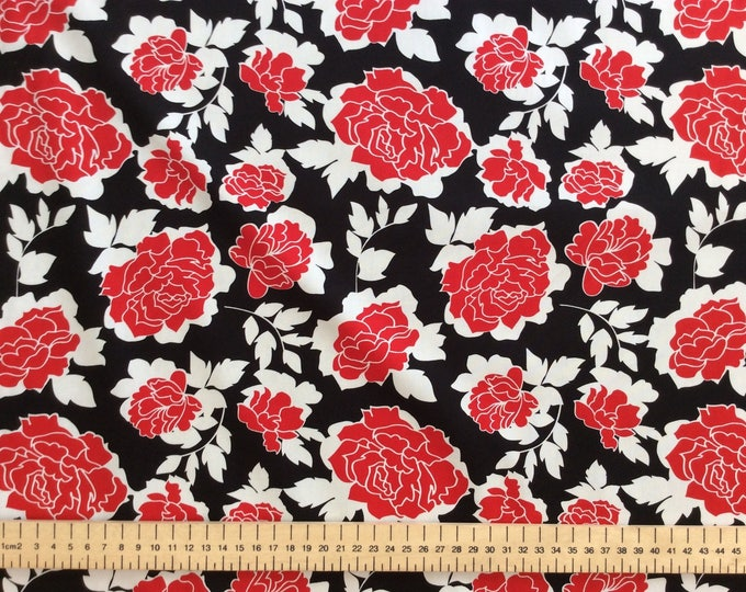 High quality cotton poplin, red roses on black