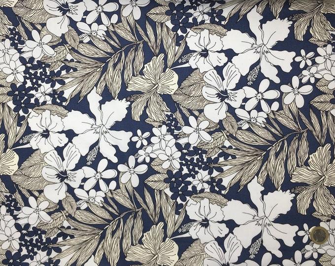 High quality cotton poplin. Flora, teal blue