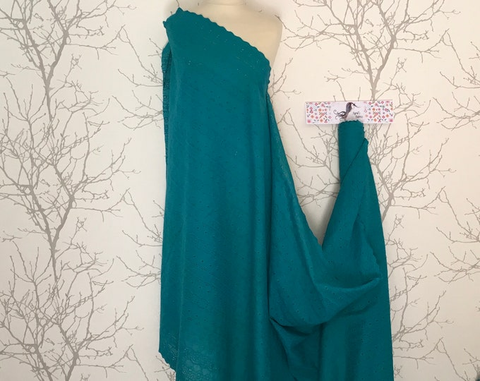 Teal embroidery anglaise, eyelet or broderie anglais cotton fabric, scalloped edges