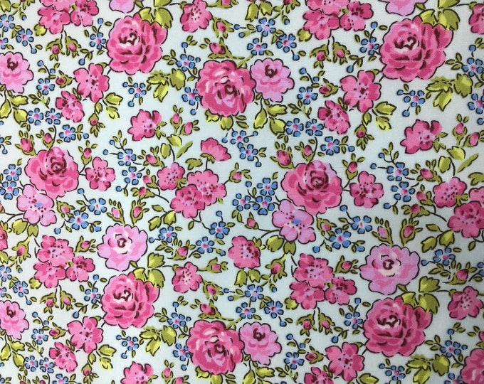 High quality cotton poplin dyed in Japan with roses on blue