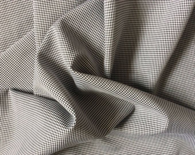 Cotton poplin, black check weave