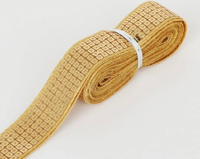 Gold Square sequin or sequined ribbon, 25mm or 1 » wide, sold per meter