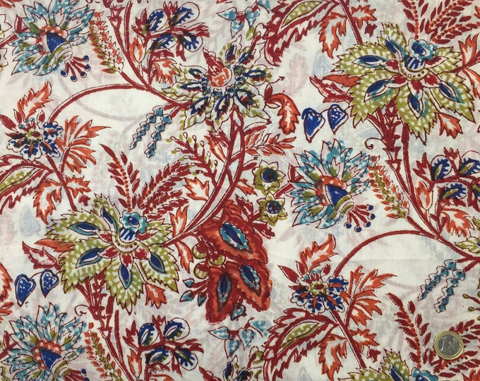 Indian block printed cotton voile, hand made. Jaipur