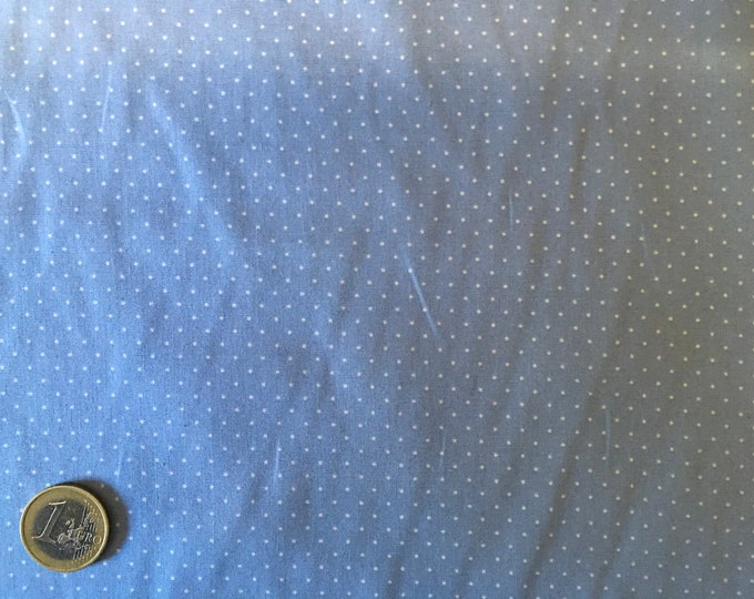 High quality cotton poplin printed in Japan, 1mm polka dots greyish blue