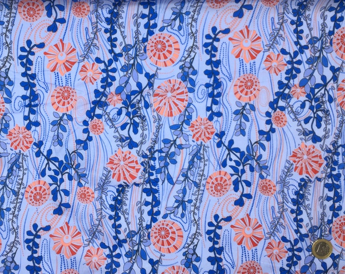 London lawn cotton fabric, priced per 25cm, Sea weed, blue
