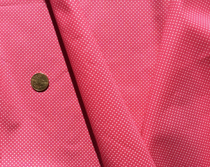 High quality cotton poplin, polka dots on hot pink