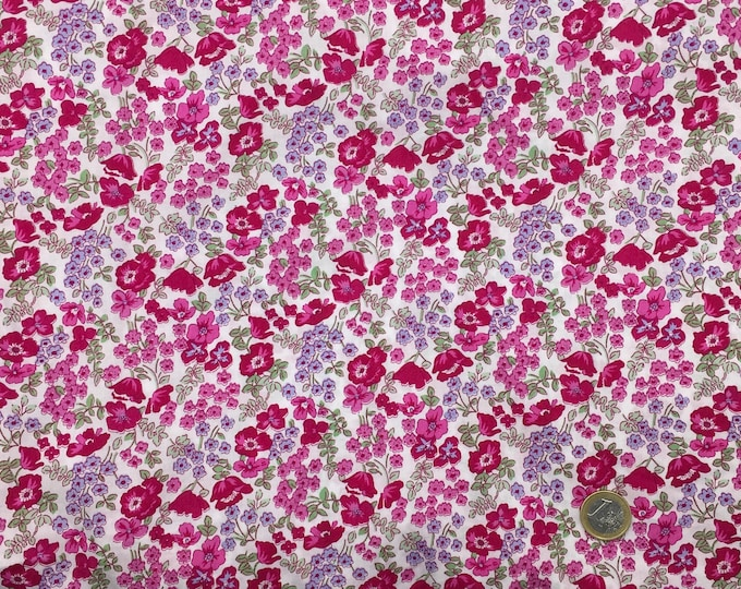 English Pima lawn cotton fabric, priced per 25cm, floral on white