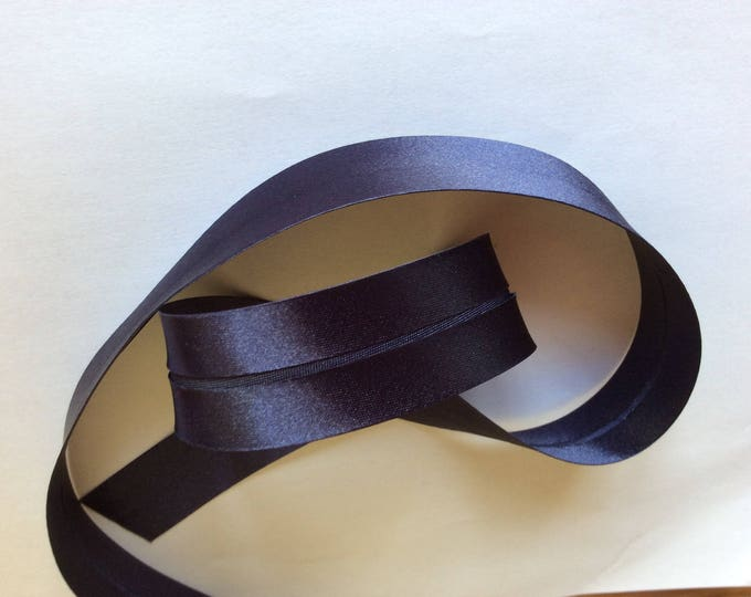 25mm silky sateen bias binding, navy blue no15
